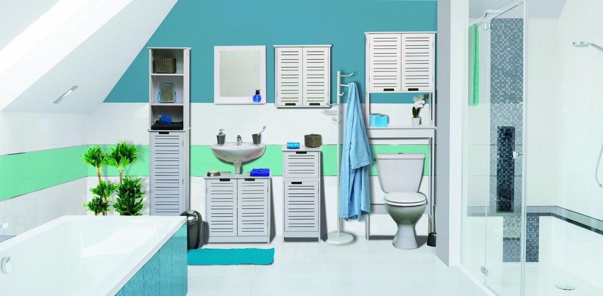 TDC Armario Alto baño Blanco 1 Puerta 3 estantes 35 x 26 x 173 cm Juego de Muebles Baño Blancos Colección Miami
