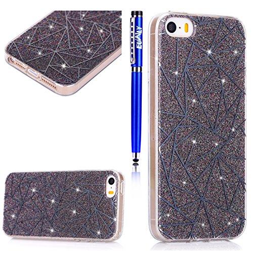 EUWLY Custodia per iPhone 6 Plus/iPhone 6s Plus (5.5), Cover Silicone Trasparente per iPhone 6 Plus/iPhone 6s Plus (5.5), EUWLY Clear Cristallo Chiaro Diamante Bling Glitter Fiori di Ciliegio Modell Rombi, Grigio