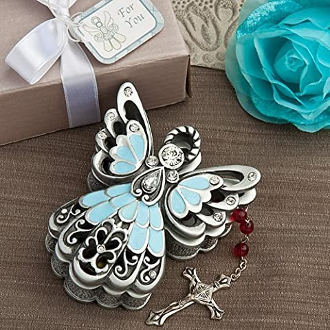 Pewter Color ANGEL TRINKET BOX - BABY Gift CHRISTENING Boy Girl KEEPSAKE Memento (Blue/Pewter Color - BOY) by FC
