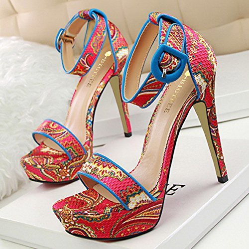 Oasap Women's Ankle Strap Peep Toe Platform Stiletto Printed Sandals Coffee