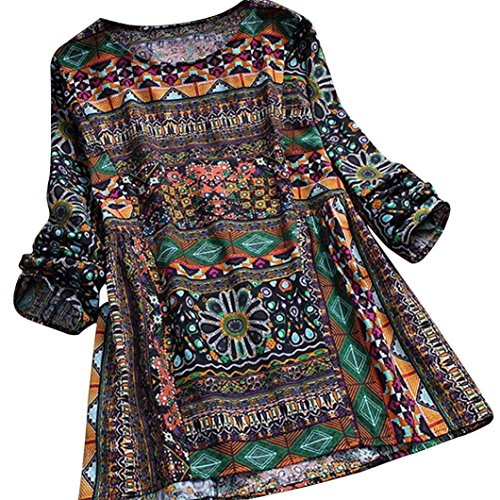 (SEWORLD 2018 Damen Mode Sommer Herbst Frauen Strand Beiläufige Schal Blumen Bedruckte Langarm Tunika Swing Tops Shirt Bluse(Marine,EU-48/CN-XL))