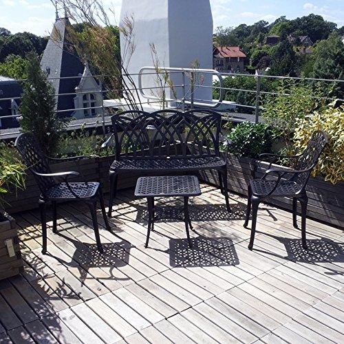 Lazy Susan – SANDRA Quadratischer Kaffeetisch mit 1 APRIL Gartenbank und 2 APRIL Stühlen – Gartenmöbel Set aus Metall, Antik Bronze - 4