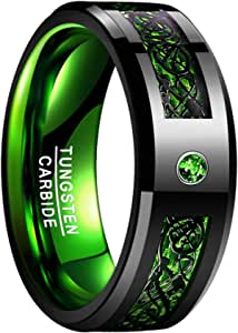 NUNCAD Anello in Carburo di Tungsteno per Uomo Donna con Zircone,Drago Celtico Nero e Fibra di Carbonio Verde per Matrimonio Fidanzamento Anniversario 8mm Taglia(15-32)