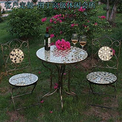 Upper-Chaise en fer forgé mosaïque hôtel terrasse patio loisirs table de thé président chairSingle
