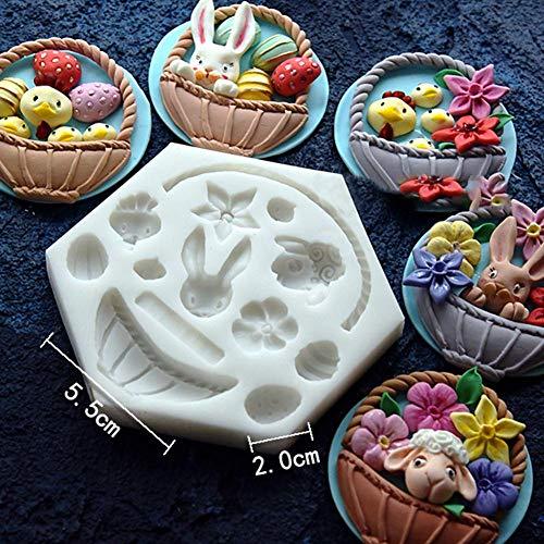 Ablerfly 3D Blumenkorb Kuchen Form Silikon Korb Fondant Dekoration Ostern Hase Ei Form Schokolade Form Backwerkzeug (Ei Korb Ostern)