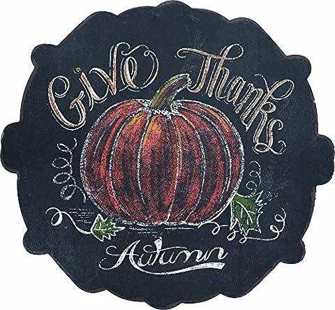 Give Thanks Autumn Pumpkin Harvest Chalkboard Design 12 inch Wood Wall Sign