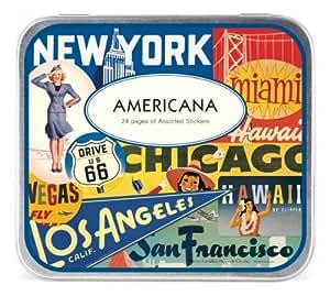Cavallini & Co. Americana Decorative Stickers in a Tin - Assorted (24 Sheets)