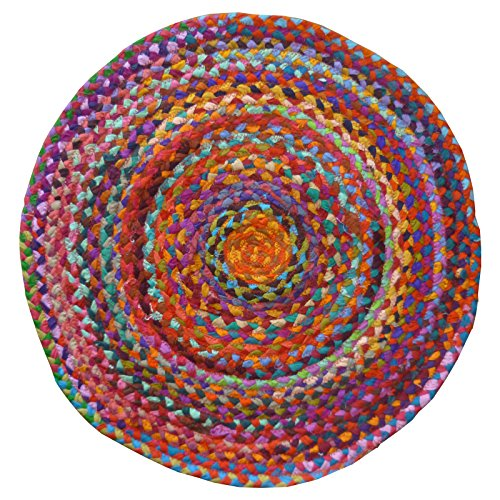Comercio justo Chindi redondo trenzado algodón reciclado Rugs, tela,