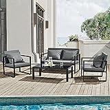 [casa.pro]® Sitzgruppe Schwarz/Dunkelgrau Gartenmöbel Set Gartenstühle Garten Sofa Lounge