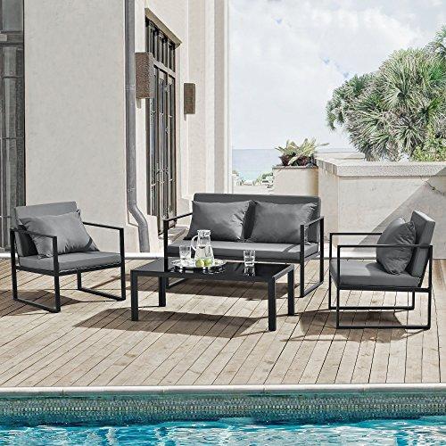 [casa.pro]® mobile da giardino completo - 2 poltrone, 1 divano e un tavolino - nero