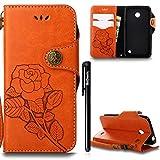 BtDuck Hülle Nokia Lumia 630 N630 Retro Blume Frauen, Slim Tasche Vintage Brieftasche Handyhülle Ledertasche Flip Cover SchutzHülle Nokia Lumia 630 N630 CoverSilikon Back Brieftasche Orange