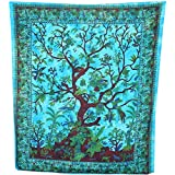 PLAIN TREE OF LIFE ART HANGING KING SIZE DOUBLE SOFA BED COVER THROW DECOR PU...