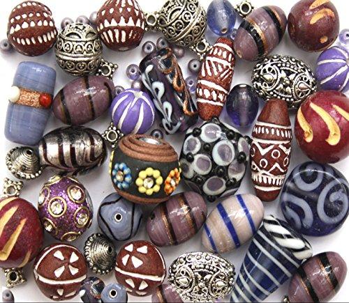 150-g-viola-lusso-misto-lotto-di-vetro-legno-tibetano-gioielli-perline