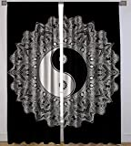 Black Yin Yang Printed Cotton Full Window Curtain Valances Window Treatments Wall Tapestry Drapes Curtain By Handicraft-Palace