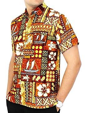 *La Leela** Shirt Camisa Hawaiana Hombre XS - 5XL Manga Corta Delante de Bolsillo Impresión Hawaiana Casual Regular...