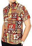 LA LEELA männer Hawaiihemd Kurzarm Button Down Kragen Fronttasche Beach Strand hemd Urlaub Casual herren 3XL-Brustumfang (in cms):152-162 Senf_W233