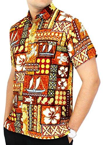 La leela shirt camicia hawaiana uomo xs - 5xl manica corta hawaii tasca-frontale stampa hawaiano casuale regular fit mostarda1577 3xl