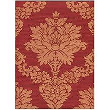 Limonta–Parato vinilico Damasco oro sobre fondo rojo burdeos efecto tela con difuminador plissà ¨. Neapolis 90605