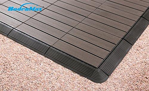 Bodenmax wpc set di piastrelle per pavimenti o per terrazze ad