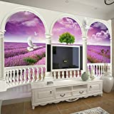 Chan-Mei 3D-Europäischen römischen Post-romantische Lavendel Tv Hintergrund Tapete...