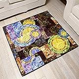tendencia japonesa de la pintada del arte del ventilador de la alfombra de retazos de colores dormitorio salón cuadrado de alfombra antideslizante gran manta de rastreo