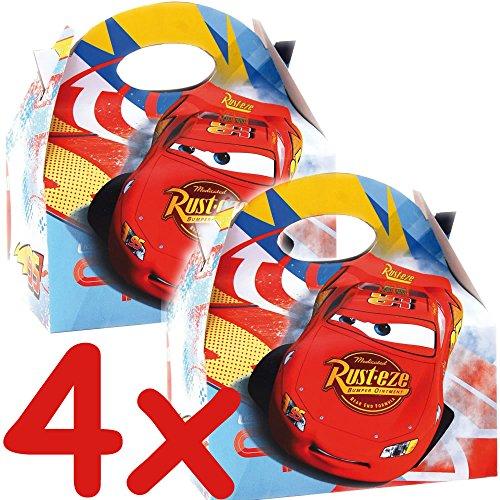 4 Geschenkboxen aus Pappe * CARS RSN * von Disney // CONO // Party Kinder Mottoparty Kindergeburtstag Mitgebsel Geschenktüten Tüten Partyboxen Racing