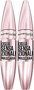 Maybelline New York Mascara Volumizzante Ciglia Sensazionali, Effetto Ventaglio per Ciglia Folte, Confezione da 2 Pezzi, Nero