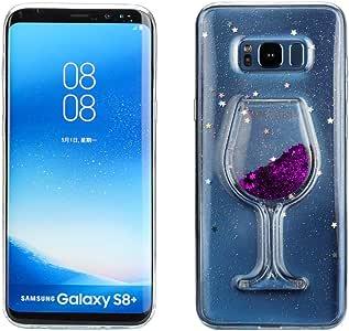 FroFine Coque Galaxy S8 Silicone, 3D Etui Samsung S8 Housses Téléphones Portables Verre de Vin Motif Glitter Liquid Sable Souple Transparente Flottant