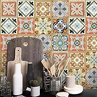 STRIR Adhesivo para azulejos 500cm x 20 cm - Adhesivo decorativo para azulejos para baño y cocina - Stickers azulejos - Collage de azulejos - Estilo europeo tradicional (B)