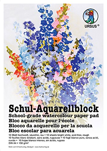 Ursus 7004600 - Schul Aquarellblock A4, 150 g/qm, 10 Blatt, hochweiß