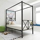 JURMERRY Canopy Lit en métal 90 x 200 cm avec tête de lit et marchepied de style européen en acier robuste Montage facile à m