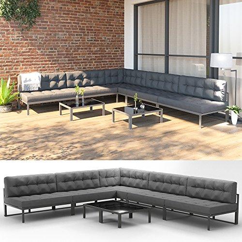 OSKAR XXL Alu Lounge Gartenmöbel Set inkl. Palettenkissen + Tisch Gartenlounge Sitzgarnitur Sitzgruppe Grau
