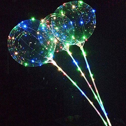 18 Zoll transparent bunten Bobo Ballons mit 27 Zoll Sticks String Licht kreative blinkende Ballons für Geburtstag Hochzeit Haus Party Dekoration (Helium-ballone Mit Led-lichtern)