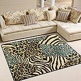 Use7 Teppich, Zebra-Muster, Tigermuster, für Wohnzimmer, Schlafzimmer, Textil, Mehrfarbig, 160cm x 122cm(5.3 x 4 feet)