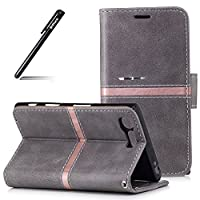 Case for Sony Xperia X Compact/XC, Wallet Shell for Sony Xperia X Compact/XC Grey, BtDuck Simple Style Premium PU + Inner Soft TPU Shell Stripes Pattern Thin Case Luxury Elegant Stand Function with Magnetic Closure Lightweight Folio Flip [with Black Stylus Pen][with Credit Card/Cash Holder Slot] Cov