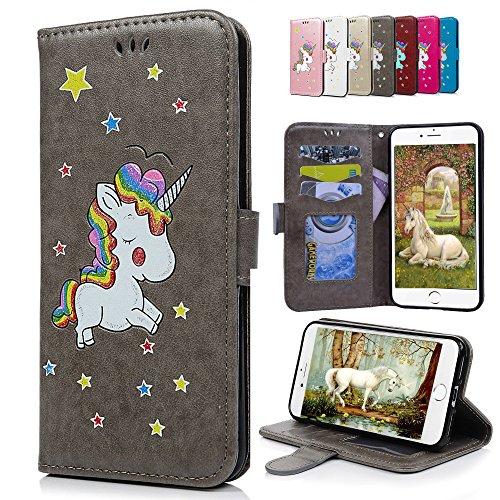 iPhone 6S Plus 6 Plus Lederhülle, E-Unicorn Handyhülle Apple iPhone 6S Plus 6 Plus Hülle Einhorn Leder Case Glitzer Muster Schutzhülle Flip Case Tasche Klapp Hülle mit Kartenfach + Silikon - 6 Rosa Geldbörse Leder Plus Iphone
