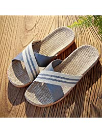 Linen zapatillas hombres en casa piso interior antideslizante Summer Cool zapatillas sandalias de mujer de moda de verano fuera,Cuarenta,1 gris
