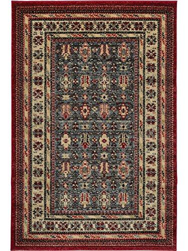 Mashad/lindaba con alfombra persa clásico tradicional rojo-azul, polipropileno, Red and Teal, 120x170cm