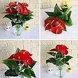 uyhghjhb 1 Strauß / 18 Blätter künstliche Blumen Anthurium Simulation Büro Dekoration – Grün + Rot
