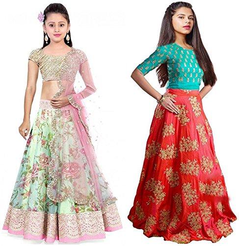 Market Magic World Girl's Pista & Orange Banglori, Bhagalpuri Semi Stitched Combo...