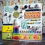 Activity Board - Motorikwand - Aktivitätsboard - Spielzeug Montessori Activity Board - Shafa-5 - Motorikspielzeug - beschäftigtes Brett - Entwickelndes Spielzeug - Mit schaltern, Schlössern, Türen
