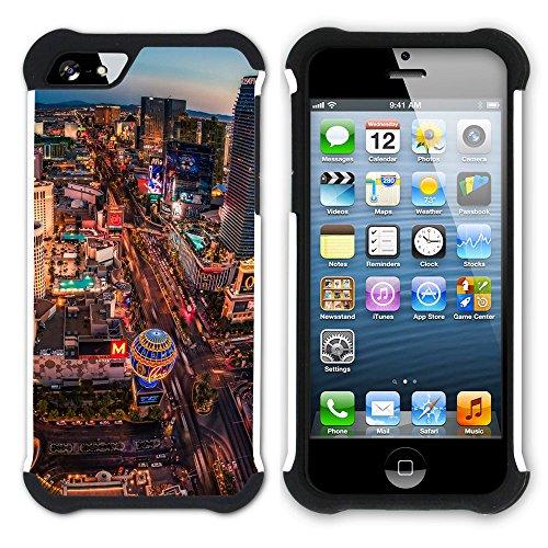 Graphic4You Las Vegas USA United States of America Postkarte Aussicht Hart + Weiche Kratzfeste Hülle Case Schale Tasche Schutzhülle für Apple iPhone SE / 5 / 5S Design #1