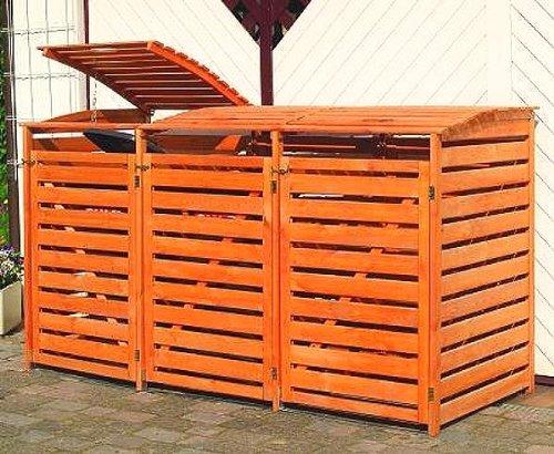 Promex Vario III Muelltonnenbox aus Holz 3x240 Liter