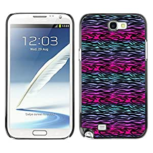 For SAMSUNG Galaxy Note 2 II / N7100 Case , Zebra Lines Purple Teal Black - Design Pattern Hard Cas Retour Case Cover Housse Coque Étui De Protection Couverture