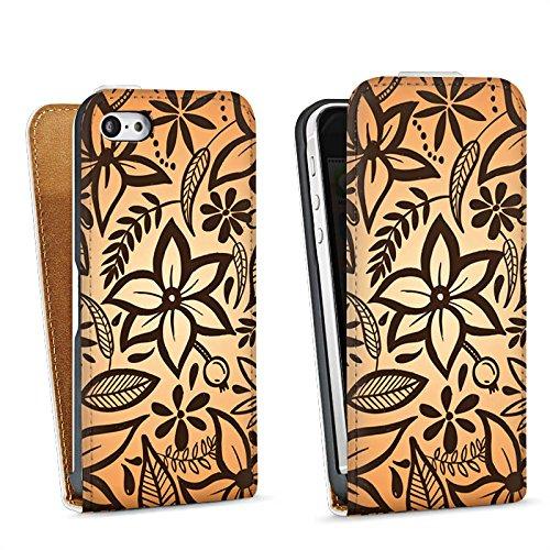 Apple iPhone 4 Housse Étui Silicone Coque Protection Rétro Fleurs Fleurs Sac Downflip blanc