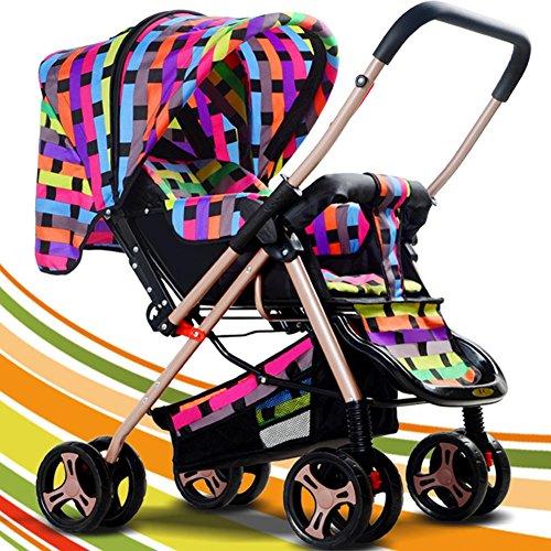 Baby Two-Way Kinderwagen Portable Folding Kinderwagen Leichtbau für 1-36 Monate , Colorful