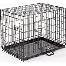 """Dog Crate Puppy Cage Medium 30"""" Metal Folding Training Cage With Metal Tray (Design 1 Standard Cage, Size 2 - 30"""" Medium)"""