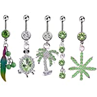 SOWUNO Belly Button Ring Rhinestone 5PCS Elegant Novelty Fashion Chic Stainless Steel Belly Ring Body Piercing Jewelry…