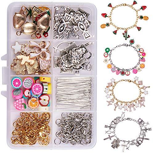 SUNNYCLUE 1 Box DIY 4 Strang Charm Armbänder, die Kit Easy Chain Bracelet Kits Machen DIY Charms Craft Kit Schmuckherstellung Zubehör für Anfänger Mädchen Anweisung -