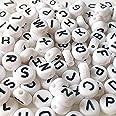 Haobase Letterkralen, alfabet, letters, spacers, kralen wit, rond, 7mm, 260 stuks